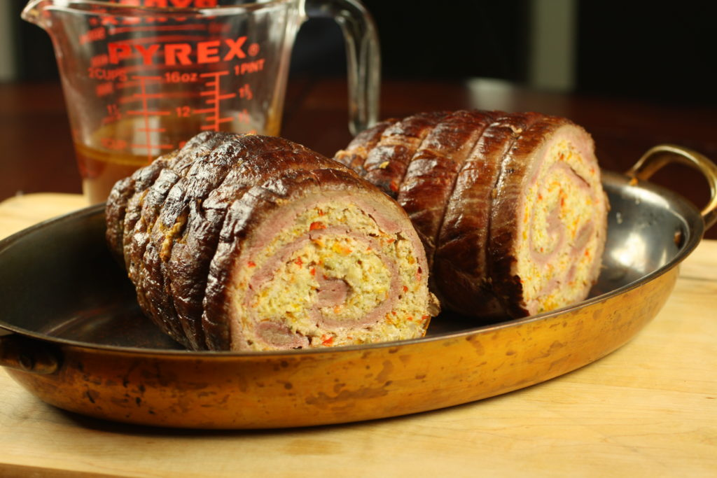 Chicken Stuffed-Beef Roulade