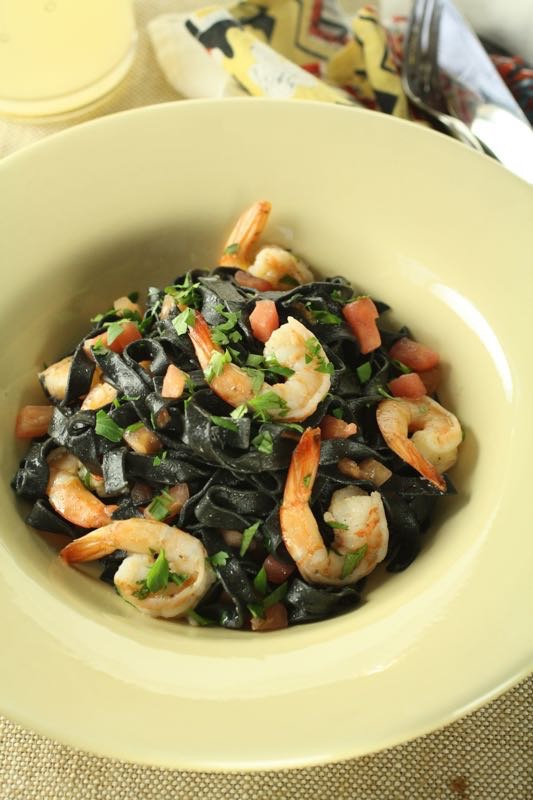 Squid Ink Pasta with Shrimp