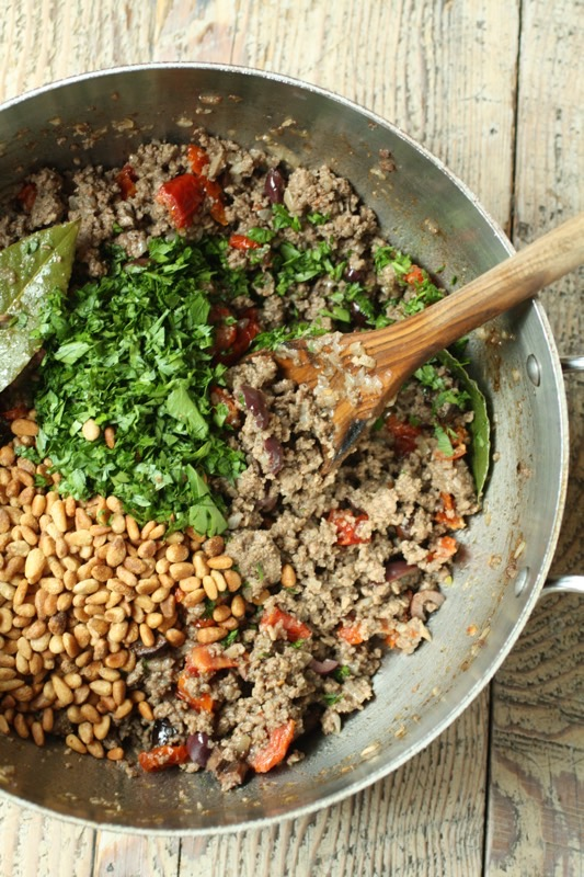 Ground Meat With Oloves, Tomatoes Pine Nuts
